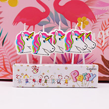 5pcs Cartoon Unicorn/Flamingo Candles Birthday party,baby shower,kids party Cake candles Unicorn party DIY cake decorations(China)