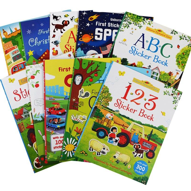A4 taille enfants dessin animé autocollant livres enfants anglais livre d'histoire avec autocollants apprentissage préscolaire pour cadeau de maternelle