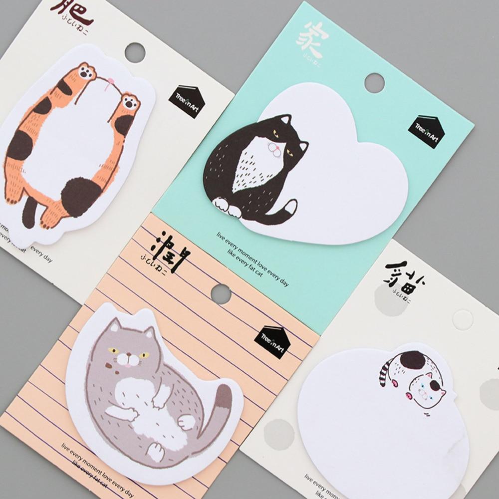 Student 4 pcs/lot Cute Cartoon Paper Stickers Memo Pad Kawaii Cat Post It Note Writing Pads School Supplies WJ-BJB-9/