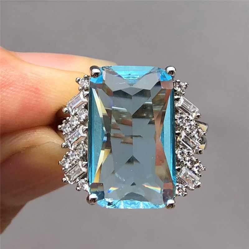 Luxury Female Big Water Blue Stone Ring Cute 925 Silver Crystal Zircon Ring Promise Engagement Rings For Women