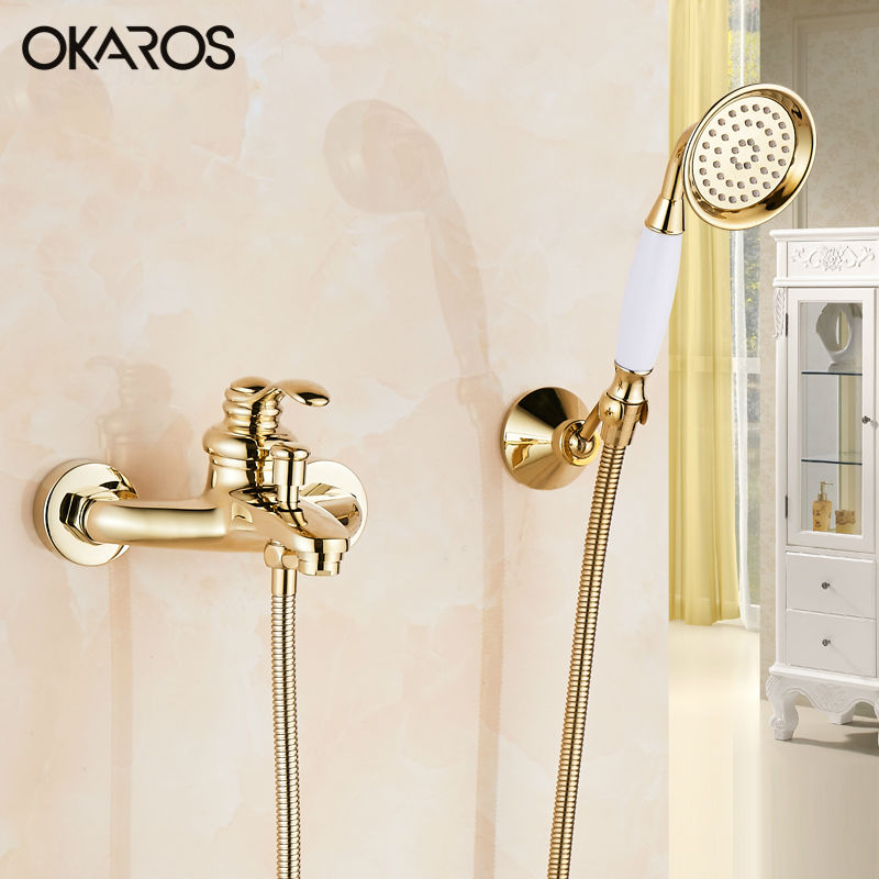 OKAROS Cold and Hot Bathtub Faucet With Hand Held Shower Head Brass Gold Rose Golden Plate
