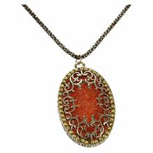 Womens Elegant Jewelry Oval  Hollow Rhinestone Long Chain Pendant Necklace