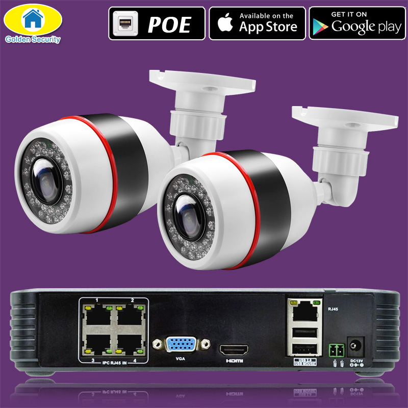 Sécurité dorée Full HD 1080P 4CH NVR système de vidéosurveillance 4 pièces 2MP FHD caméra IP extérieure 4CH 1080P PoE Kit de caméra de sécurité HDMI VGA P2P - 6