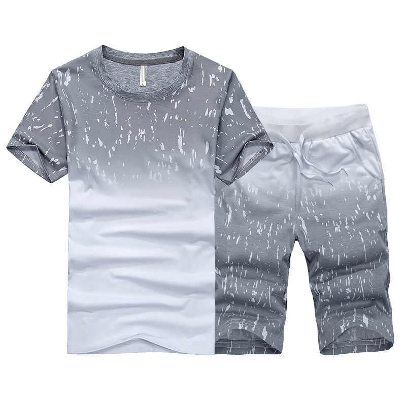 Летний мужской комплект спортивных костюмов футболка + шорты Быстросохнущий комплект из 2 предметов повседневный мужской спортивный костюм Мужская одежда спортивный костюм 2019 Мода
