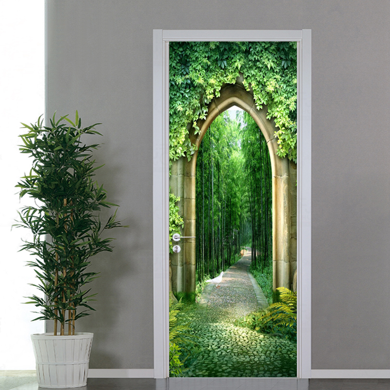 3D Wallpaper Chinese Style Bamboo Grove Scenery Photo Wall Mural Door Sticker Living Room Study Home Decor PVC Wallpaper For 3 D