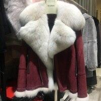 Куртка из натуральной овечьей кожи с большим воротником из лисьего меха, Высококачественная Роскошная брендовая модная плотная зимняя вер