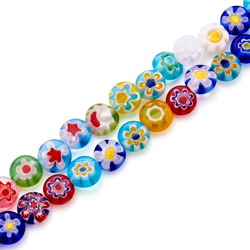 6x3mm Colorful Flat Round Millefiori Glass jewelry Beads Handmade Flower Loose Beads for Bracelet Making Crafts 66pcs/strand F80(China)