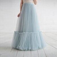 2018 Fashion Dusty Blue Long Tulle Skirt Custom Made Rustic Bridal Wedding Skirt Fashion Spliced Mesh Floor Length