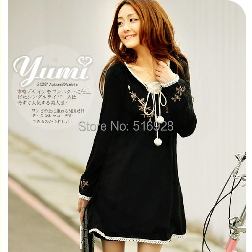 Fashion Pregnant Maternity Dresses Clothes Embroidery Laciness Decoration Long Sleeve Knitted One-piece Dress Autumn Spring