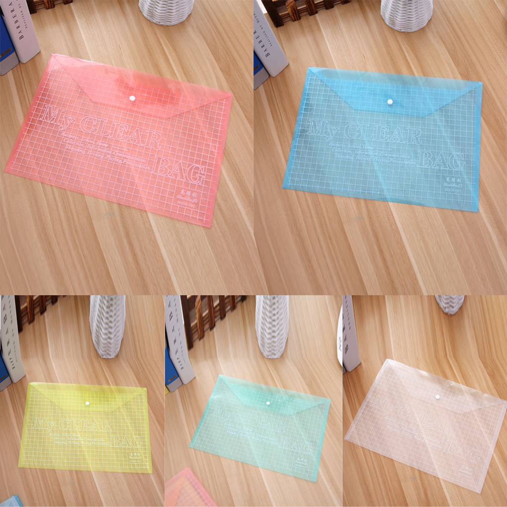 2019 HOT Transparent Grid Snap Button PVC Document Bags File Case Office Stationery Supplies