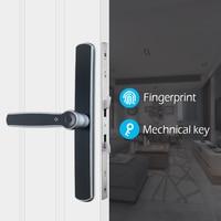 Waterproof Aluminum Glass Door Lock  Fingerprint Smart Door Lock European Mortise Electronic Door Lock For outdoor|Electric Lock| |  -