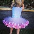Новорожденных Девочек Юбки Балетной Пачки Розовый Ленты и Белый Тюль Юбка Малышей Младенческой Танца Юбка Дети День Рождения Юбки For0-8years