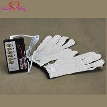Conjunto de guantes sexuales para adultos, juguete sexual de electrochoque eléctrico, Cable, electrochoque