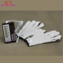 New 1 set Sex Gloves Electric Shock Host and Cable electro shock sex toys electro stimulation sex toys for TENS adult game