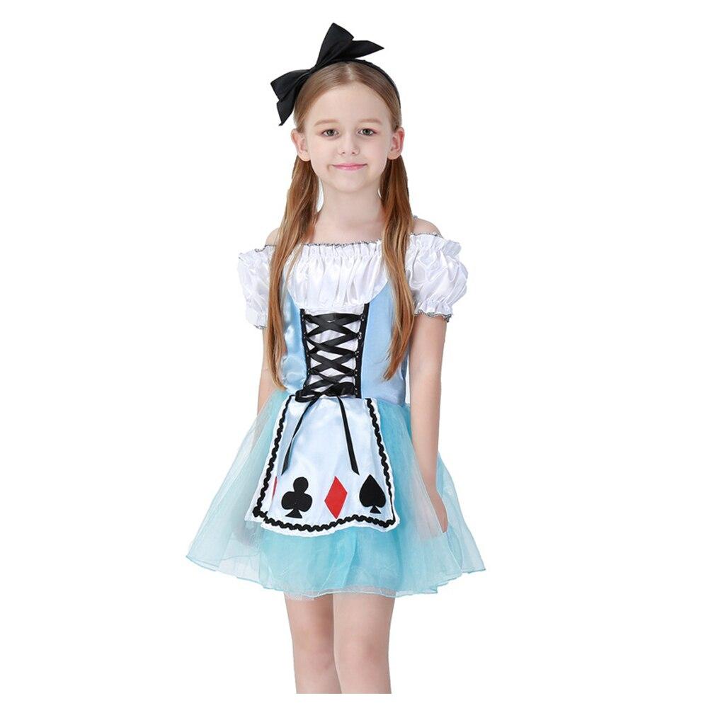 2018 Princesse Enfants Halloween Cosplay Costumes Alice au Pays Des Merveilles Vêtements Fille Douce Fantaisie Partie Robe robe enfants Costume