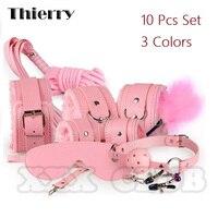 Thierry 10 stks/set Sexy Bondage Product Kit Volwassen Spelletjes Speelgoed Set Handboeien Footcuff Zweep Touw Blinddoek Koppels Erotische Speelgoed