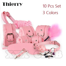 Thierry 10pcs set Sexy Bondage Product Kit Adult Games Toys Set Hand Cuffs Footcuff Whip Rope