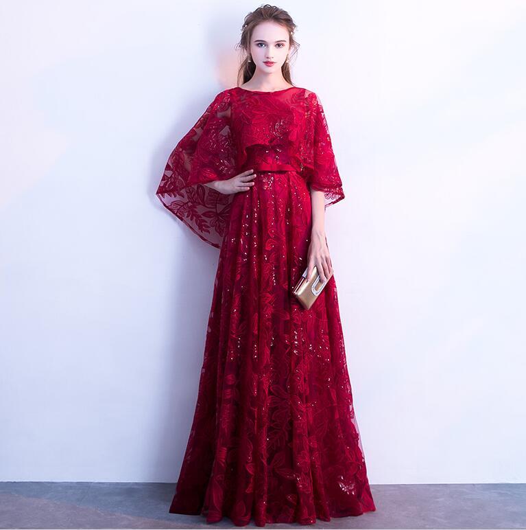 Dentelle sequin robe de bal 2019 élégant cape manches graduation robes de soirée longues robes de soirée formelle robe de soirée Vestido de festa