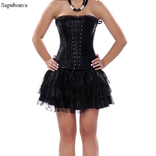 Sapubonva Corset And Bustier Lace Evening Women Casual Dress Plus Size Push  Up Gothic Corset Dress Zip Black Red Vintage Green ce75bc00467e