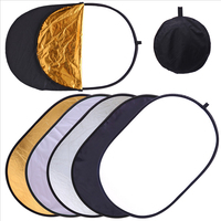 90 120cm 5 In 1 New Flash Photo Studio Collapsible Oval Reflector Gold Silver White Black