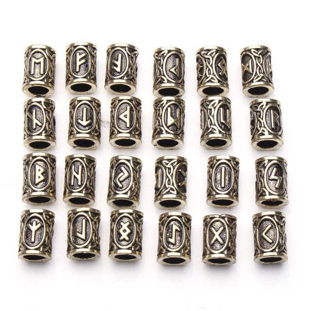 24pcs Hair Braid Dread Dreadlock Beads Clips Cuff Viking Rune Pattern Design Ring S For Braiding