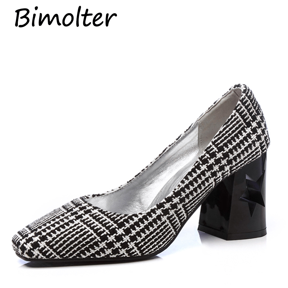 Bimolter Female Four Seasons Costume Tweed Plaid Pumps Square Toe Thick heel Women Pumps Handmade Quality Casual Shoes PCEA003 in Women 39 s Pumps from Shoes