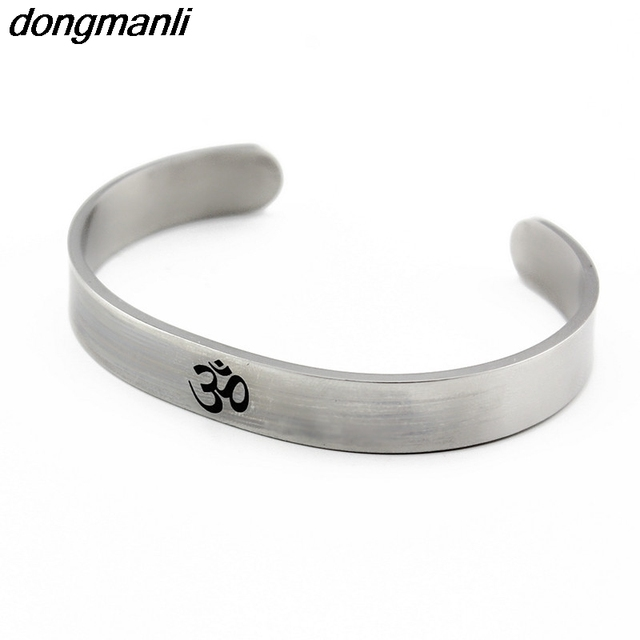 P350 Dongmanli Silver Aum Om Ohm Hindu Buddhist Hinduism Yoga India Stainless Steel Cuff Bracelet Opening