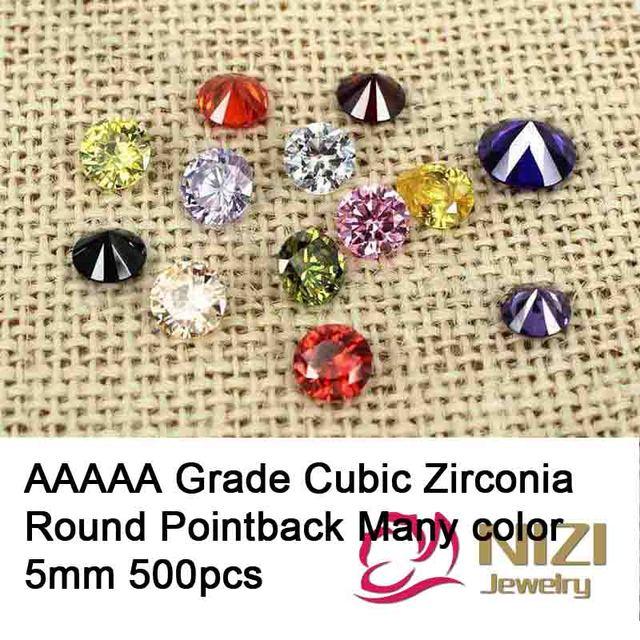 5 mm 500 unids AAAAA grado Zirconia cúbica gemas sintéticas para la joyería de la forma redonda diseño piedras taladro del palillo 3D decoración del arte del clavo