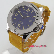 цена 44mm PARNIS Blue dial Luminous marks Steel Case Sapphire Glass automatic mens watch онлайн в 2017 году