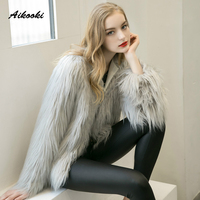 Aikooki Faux Fox Fur Coats Winter High End Fur Coat Thicken Warm Fake Fur Women Elegant