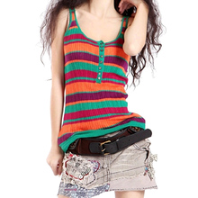 Plain New Casual Knitted Tanks Top Brand Female High Street Fashionable Korean Style Multi-Colors Spaghetti Strap Knit Tops