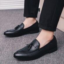 men dress business shoes pointed toe luxury brand famous tassel italian footwear male formal flats fashion oxford shoes men k3