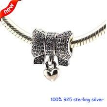 Se adapta a pandora pulseras del corazón y del arco granos de plata con cz 100% plata de ley 925 encantos de la joyería diy al por mayor 08300