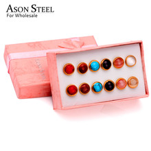 ASONSTEEL Colorful Opal 6pairs/box Earring Sets Stainless Steel Stud Fashion Jewelry for Women/Party Wholesale Party