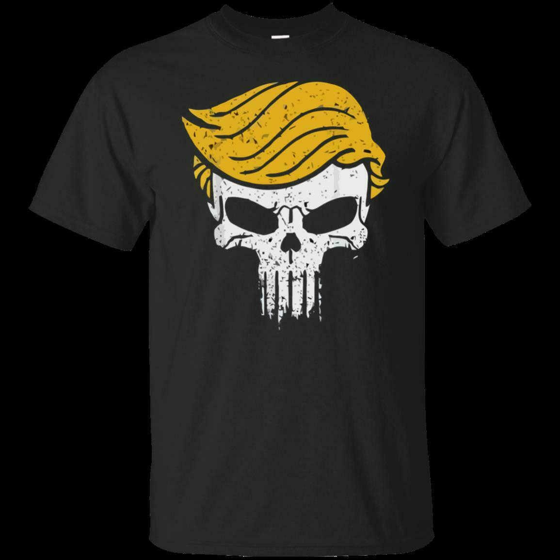 黒、海軍 Tシャツおかしいトランプ-スカルトランプパニッシャーパロディーギフト男性の Tシャツ