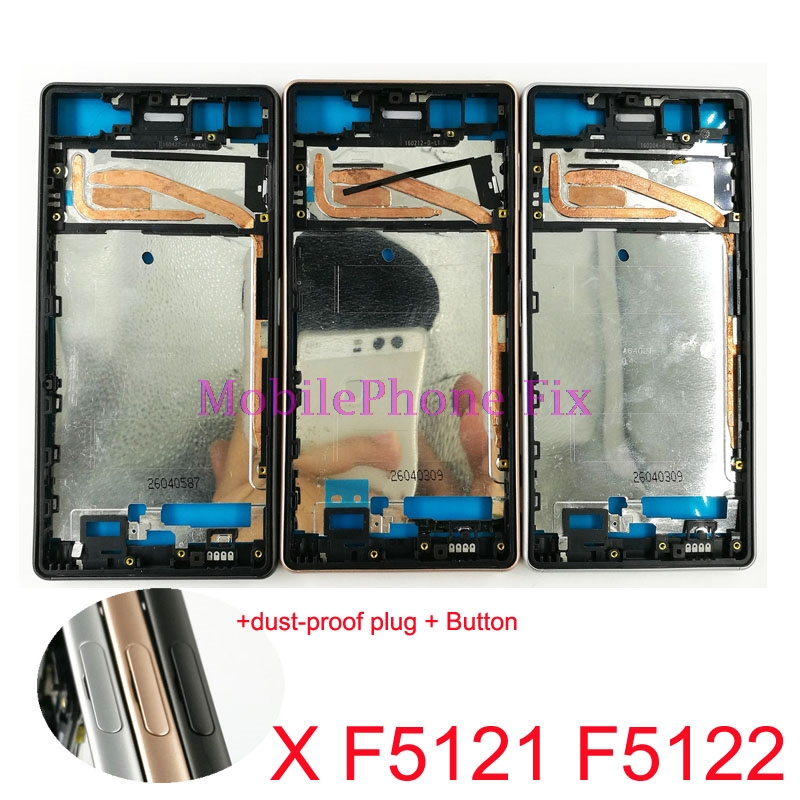 Middle Housing Frame Chassis For Sony Xperia X F5121 F5122 LCD Screen Front Frame Bezel + Button + dust-proof plug Repair Parts