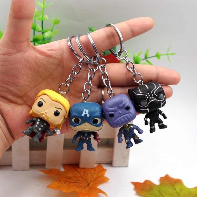 Movie Super Hero Thor Captain America Thanos Black Panther PVC Keychain Bag Avengers Gifts Kids Party Classic Film For Fans