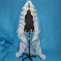 New White or Ivory 2 Meters Bridal Veil 1 Layer Lace Wedding Veil with Metal Comb