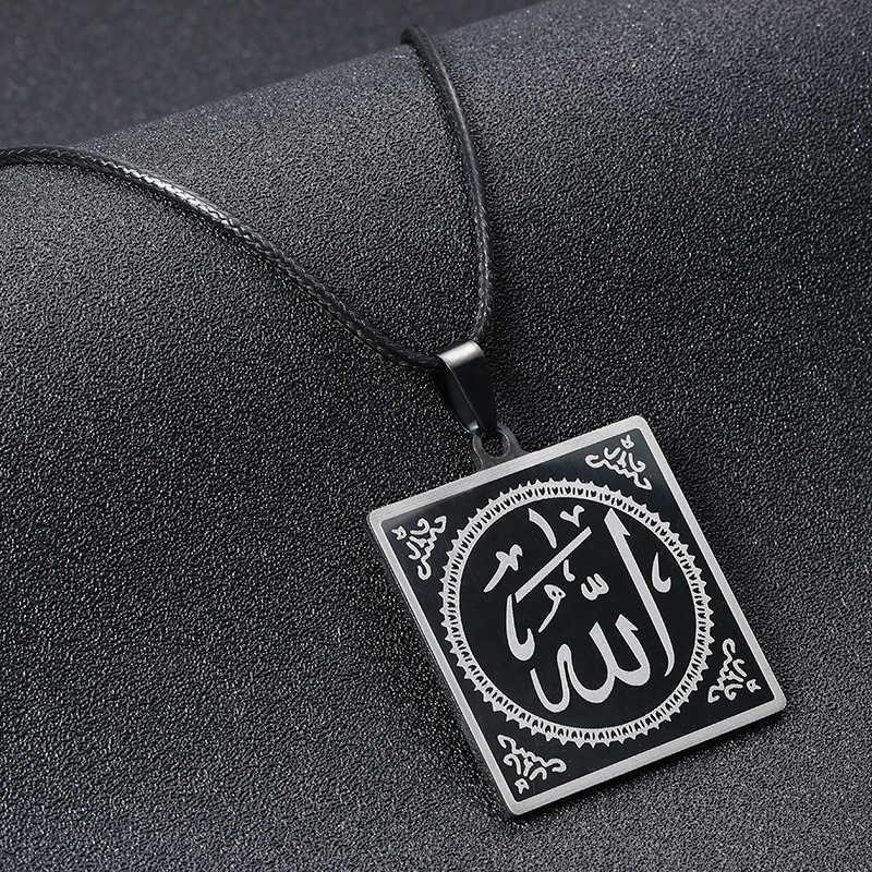 SONYA mody fajne Punk czarny 316L ze stali nierdzewnej muzułmańska wisiorek i naszyjniki łańcuch skórzana mężczyźni kobiety Costume Jewelry