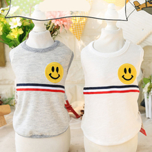 Spring Summer Pet Dog Clothes Shirt Cotton Vest for Small Medium Apparel Smiley Pattern Costumes