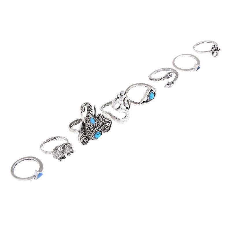 a709f148c4a 8 Pçs set Bohemian Vintage Anéis de Dedo Definir Mulheres Conjunto de Jóias  Elefante Tibetano Prata Anéis Abertas Jóias Lot