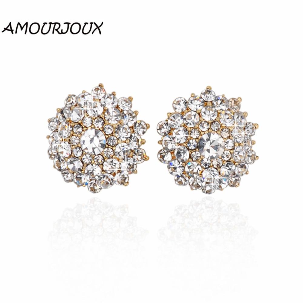 Amourjoux Gold Color Alloy Stud Earrings For Women Round Flower Rhinestone  Filled Women Earrings Studs(