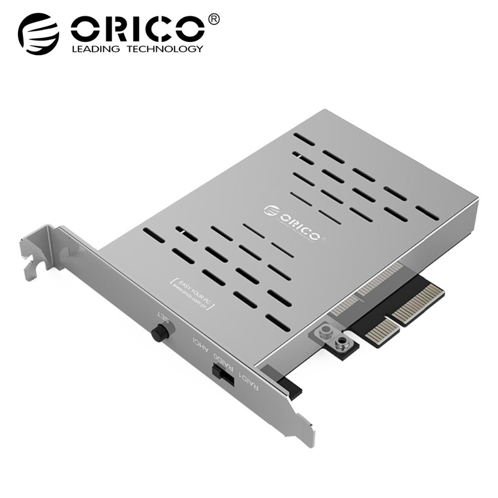 ORICO Desktop Disk Array Card PCI-E M.2 SSD Stainless Steel High-speed Raid Hard Drive Expansion Card Raid Controller цена