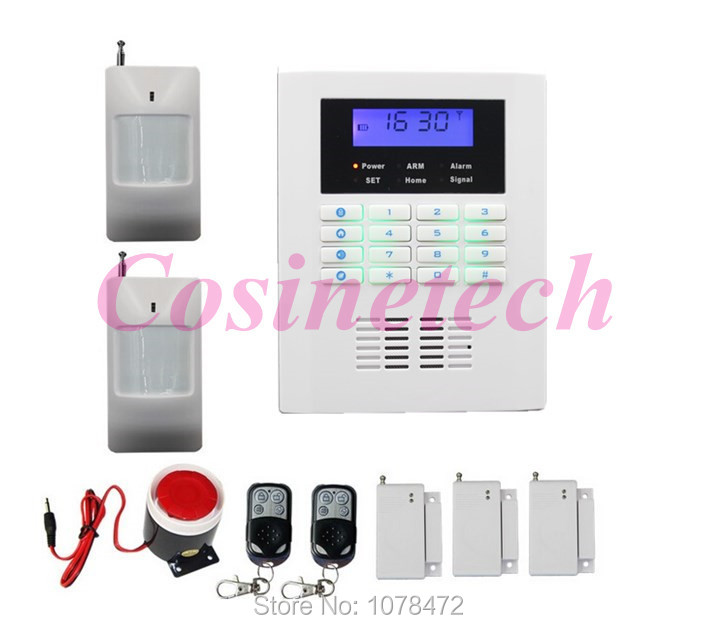 где купить Cheap Smart auto-dial SMS quad 4band GSM PSTN alarm system,home security teleohone line alarm system with 101 defense zone alarm по лучшей цене