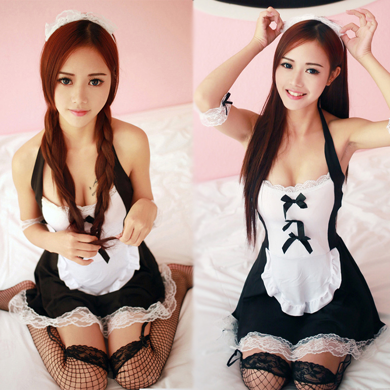 Sexy Woman Maid Costumes Lingerie Black Lace Cosplay Uniform Dress Halloween French Maid Costumes Suit Uniform Porn Lingerie