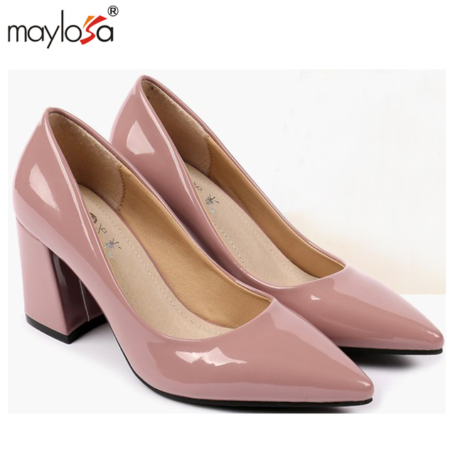 2016 Otoño moda mujeres ocio zapatos de cuero bombas de tacón alto de las mujeres de charol talón grueso de la plataforma zapatos de mujer