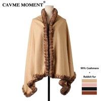 CAVME 99% Cashmere Fur Poncho Cape for Women Largue Scarf Wraps Shawl Elegant Ladies Scarves Solid Color