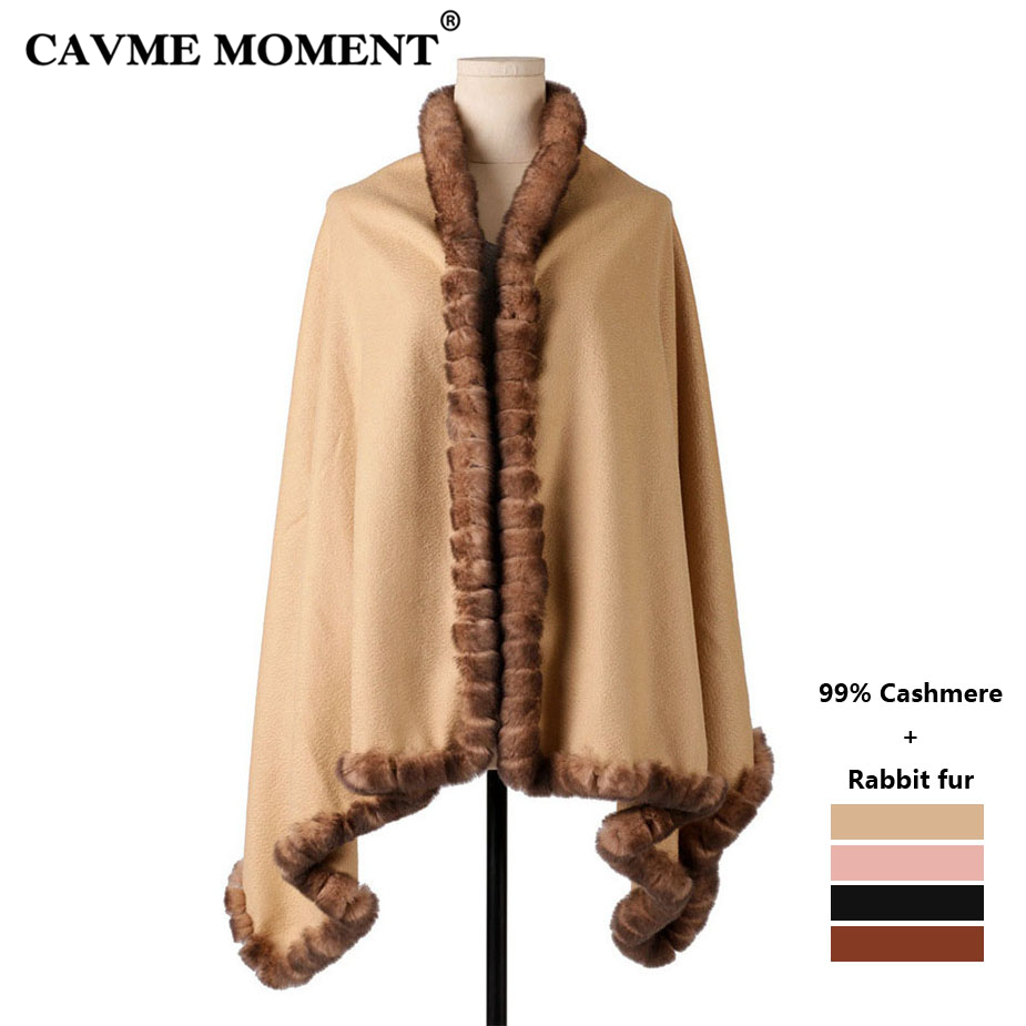 CAVME 99% Cashmere Fur Poncho Cape for Women Largue   Scarf     Wraps   Shawl Elegant Ladies   Scarves   Solid Color