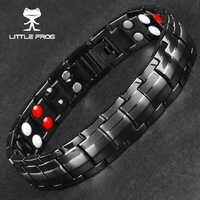 Pouco sapo punk energia saudável pulseira homem preto elo de corrente pulseira de aço inoxidável magnético pulseiras