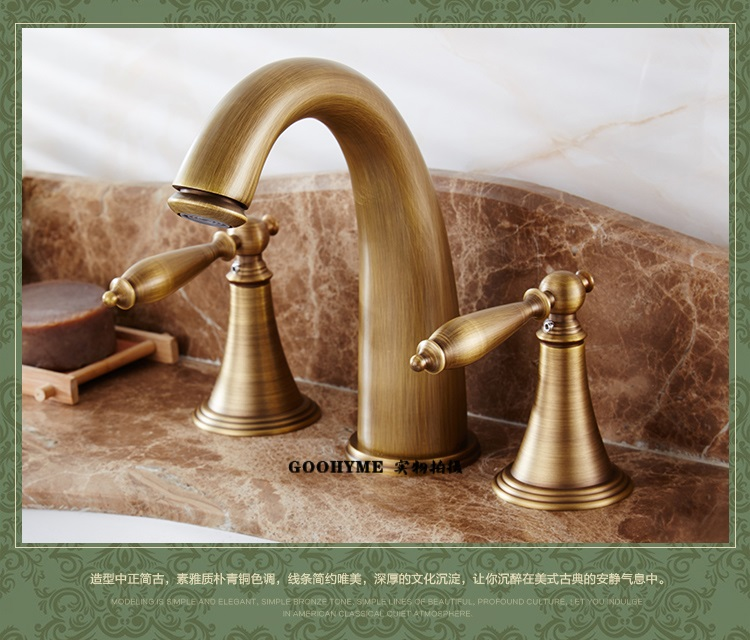 Copper lavatory faucet European pastoral American antique retro split double three hole booster hot and cold water LU41337 lanos torneira all copper split three piece three hole basin faucet flat water double tube factory direct the hot and cold taps